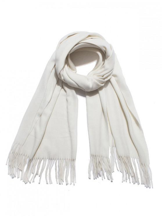 shops Solid Color Soft Long Scarf - WHITE