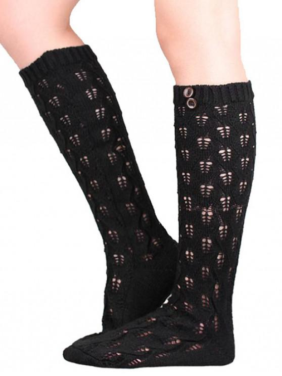 fashion Buttons Hollow Out Knitted Socks - BLACK