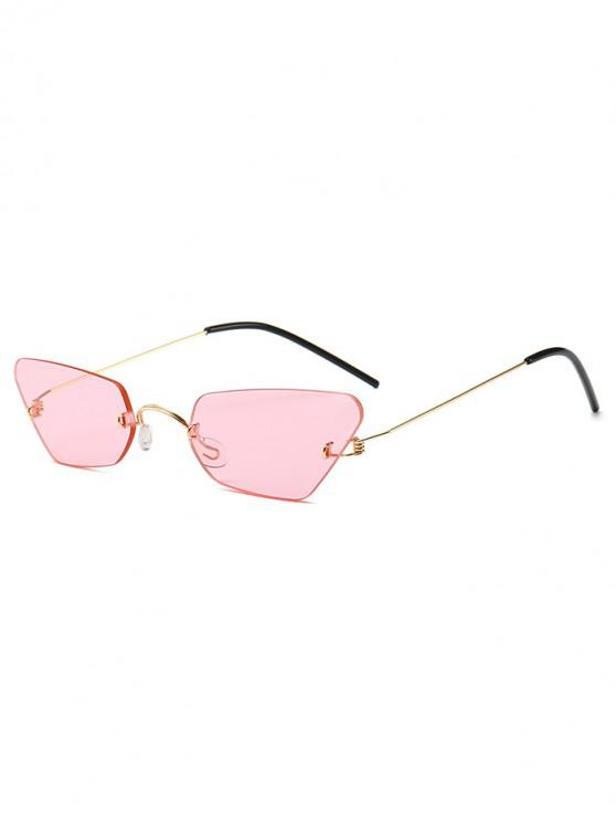 womens Irregular Frame Rimless Sunglasses - PINK