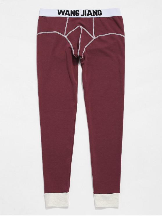 Pantalon Legging Thermique Cousu Contrasté avec Pochette - Rouge Sang M