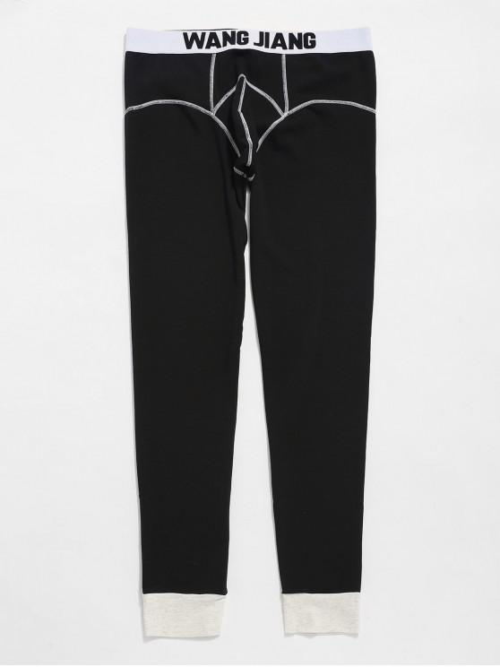 hot Seam Contrast Pouch Thermal Leggings Pants - BLACK L