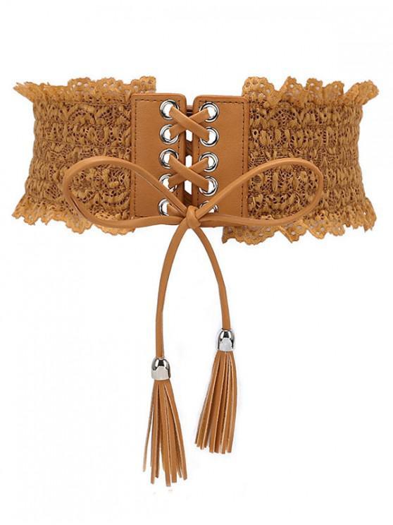 new Solid Color Lace Elastic Dress Belt - LIGHT BROWN
