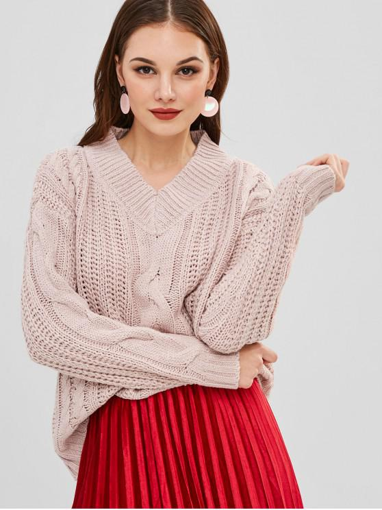 outfits Chunky Cable Knit V Neck Oversized Sweater - PIG PINK ONE SIZE