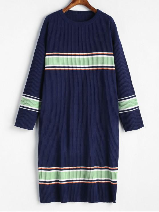 womens Striped Ribbed Midi Sweater Dress - DEEP BLUE ONE SIZE
