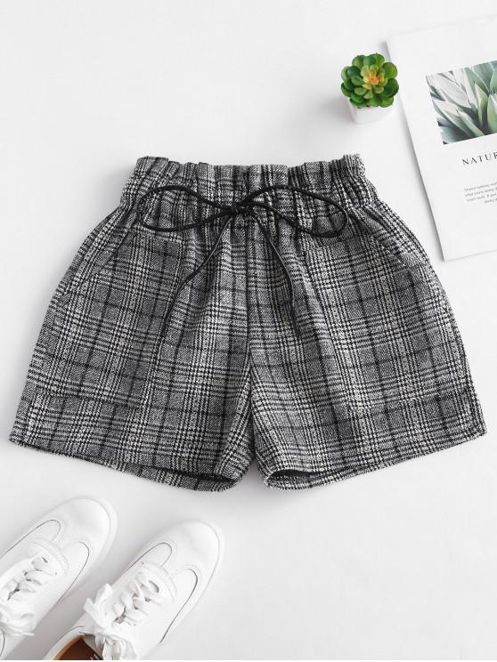 women Elastic Waist Plaid Shorts - MULTI M
