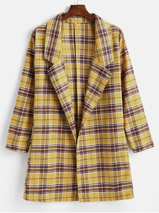 Plaid Plus Size Blazer Longline - Multi 1X