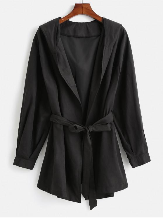 womens Hooded Plus Size Wrap Coat - BLACK 1X