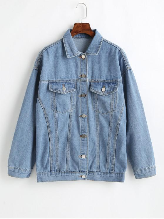 latest Button Up Drop Shoulder Jean Jacket - JEANS BLUE XL