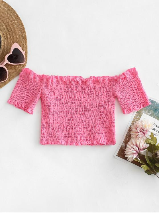 lady Smocked Off The Shoulder Crop Top - HOT PINK S