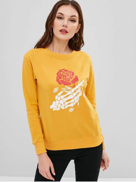 fashion Skeleton Floral Print Pullover Graphic Sweatshirt - BRIGHT YELLOW M