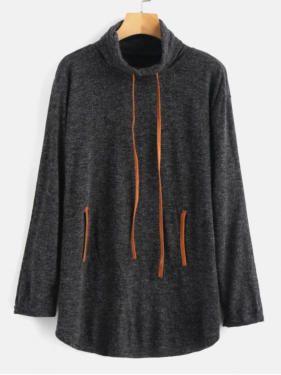 online Turtleneck Pocket Knit Tunic Sweater - DARK GRAY M