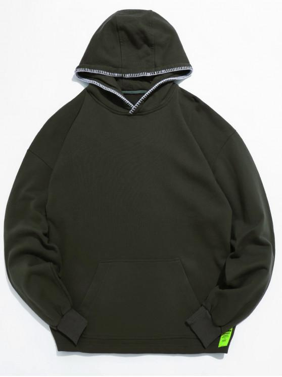 lady Hat Edge Seam Pocket Hoodie - DARK GREEN 2XL