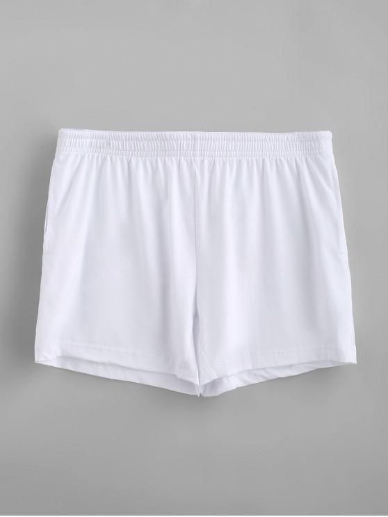 Calzoncillos de boxeador blandos sólidos - Blanco L
