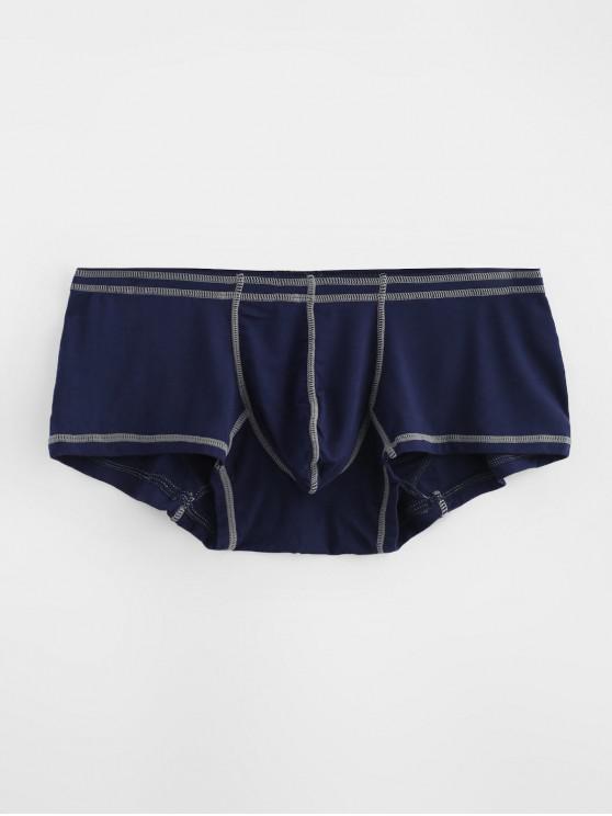 Slip Cousu avec Pochette Contrastée - Bleu profond L
