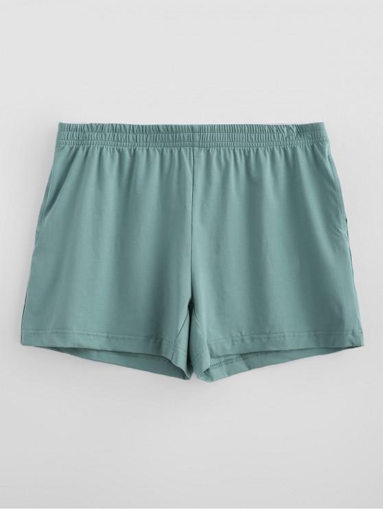 Calzoncillos de boxeador blandos sólidos - Verde de Mar Ligero M