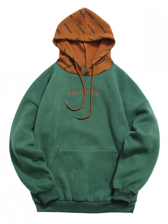 fashion Contrast Letter Fleece Hoodie - DEEP GREEN XL
