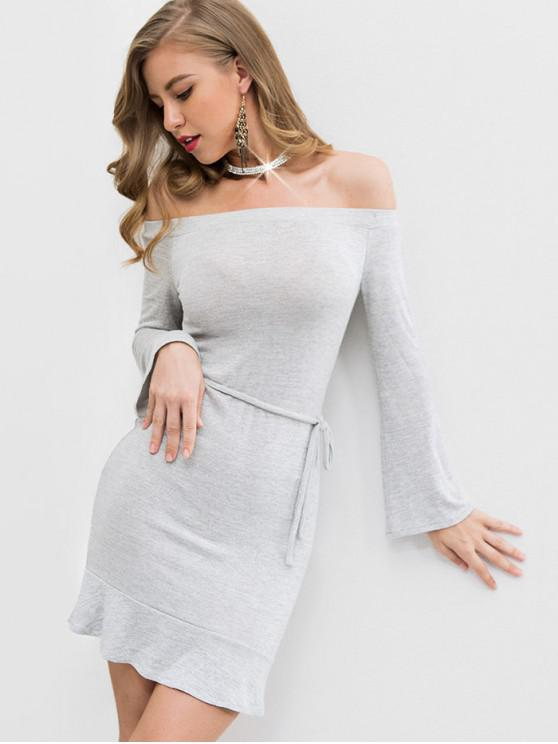 fancy Off Shoulder Ruffles Belted Knit Dress - LIGHT GRAY M