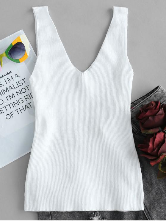 affordable Ribbed Double V Neck Tank Top - WHITE ONE SIZE