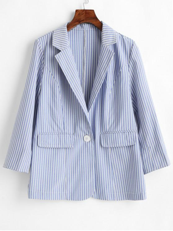 women Single Button Striped Blazer - PASTEL BLUE L
