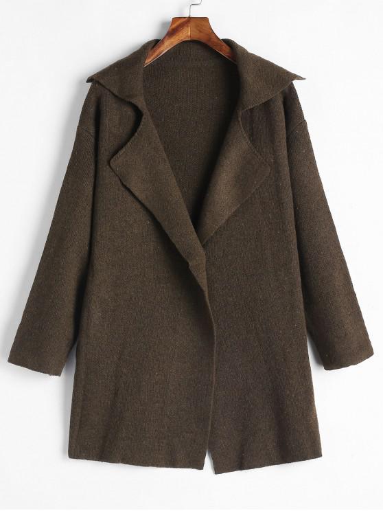 Manteau Pull un Bouton à Col Revers - Café Taille Unique