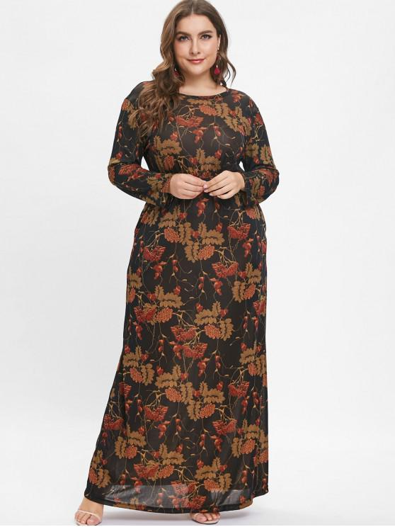 Long Sleeve Plus Size Printed Maxi Dress MULTI