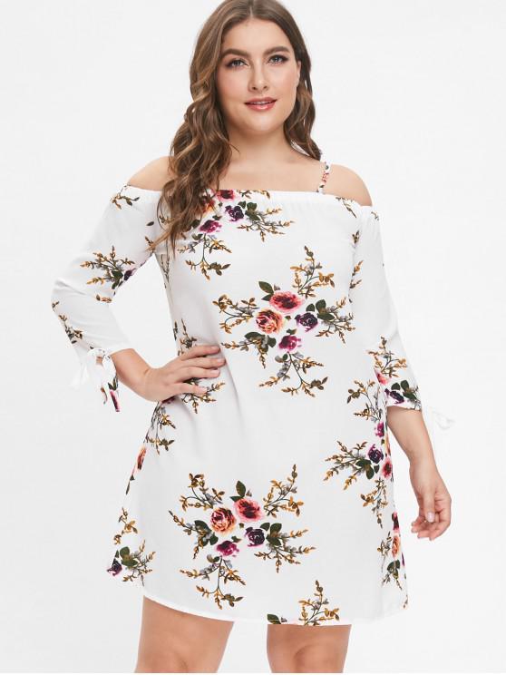 21 Off 2019 Flower Print Plus Size Mini Dress In White Zaful