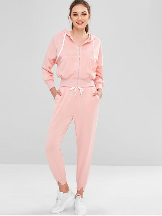 hot Zip Up Jacket and Joggers Pants Tracksuit - LIGHT PINK M