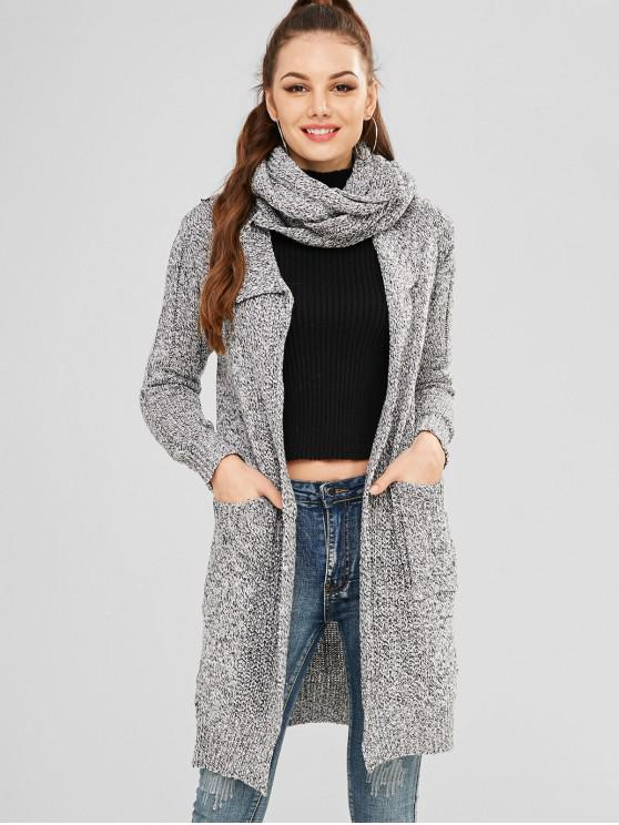 outfit Cowl Neck Marled Cardigan with Pocket - GRAY ONE SIZE