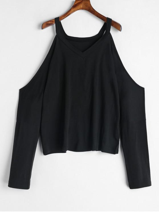lady Open Shoulder T-shirt - BLACK S