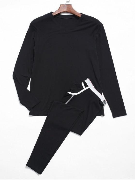 outfits Thermal Underwear T-shirt Pants Set - BLACK M