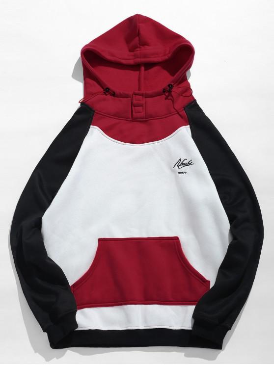 womens Fleeced Color Block Hoodie - RED WINE XL