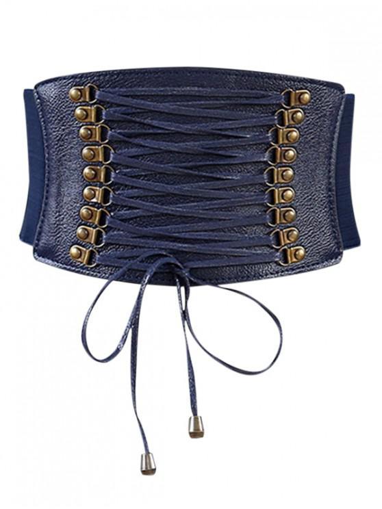 women's Rivets Faux Leather Elastic Wide Belt - CADETBLUE