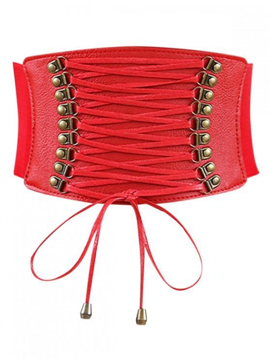 ladies Rivets Faux Leather Elastic Wide Belt - RED