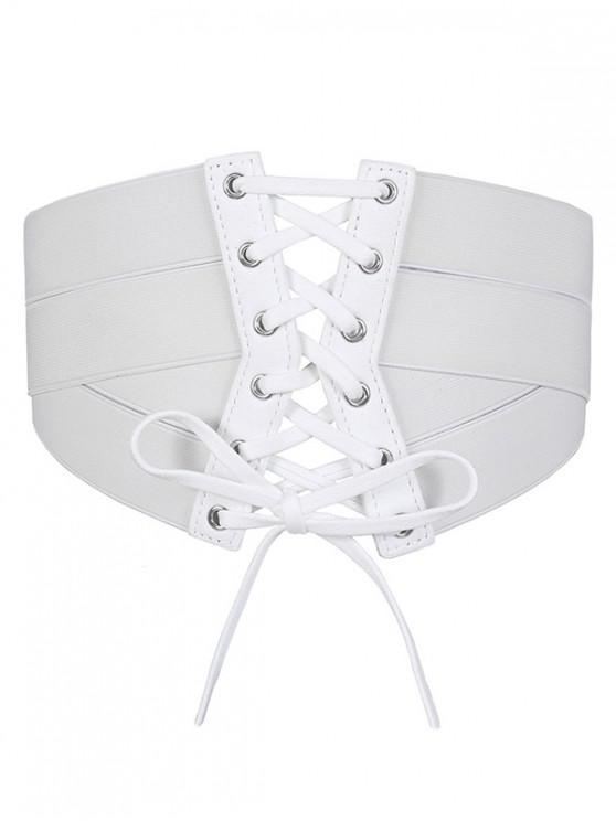 lady Solid Color Zipper Up Elastic Dress Belt - WHITE