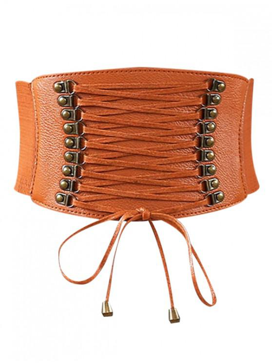 outfit Rivets Faux Leather Elastic Wide Belt - LIGHT BROWN