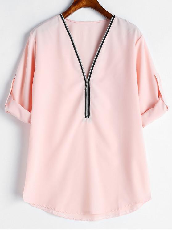Blusa Meia Zip - Rosa Claro M