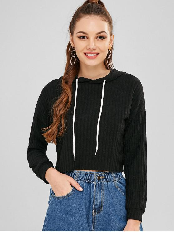 affordable Solid Color Short Sweater - BLACK L