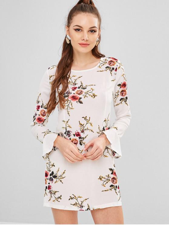 unique Flower Print Flare Sleeve Straight Dress - WHITE L