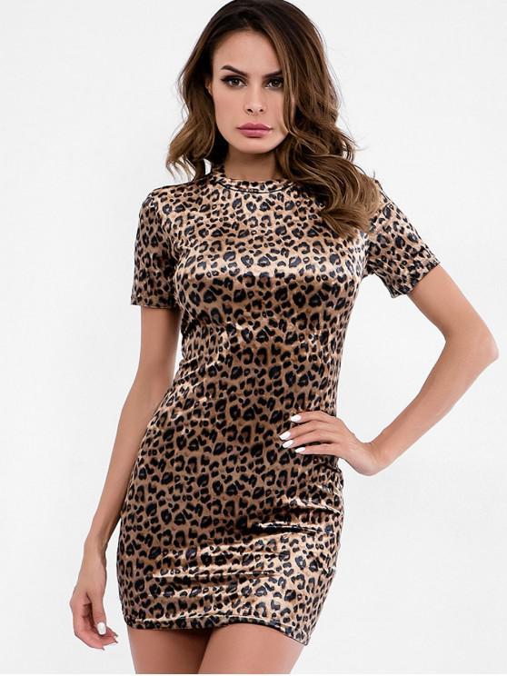 new Leopard Print Velvet Mini Dress - LEOPARD M