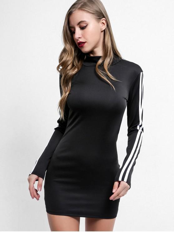 hot Mock Neck Side Striped Mini Dress - BLACK L