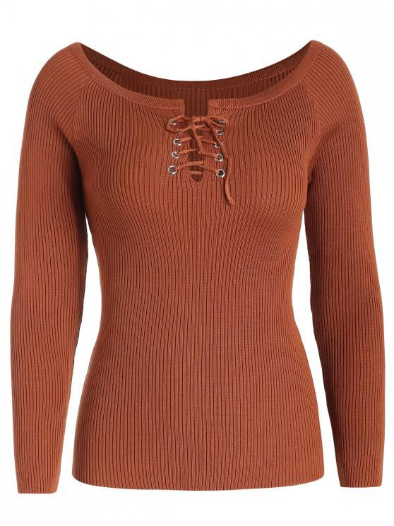 chic Lace Up Scoop Neck Sweater - CHESTNUT RED ONE SIZE