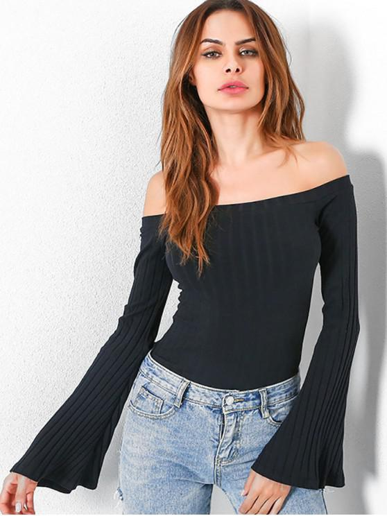 fashion Off Shoulder Flare Sleeves Knitwear - BLACK M