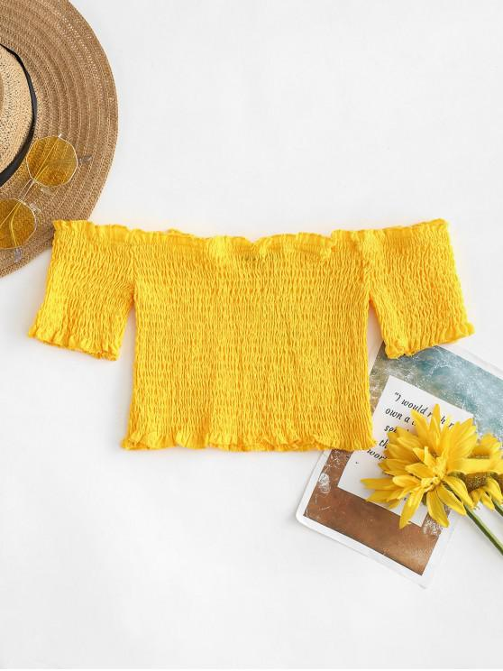 shop Smocked Off The Shoulder Crop Top - YELLOW L