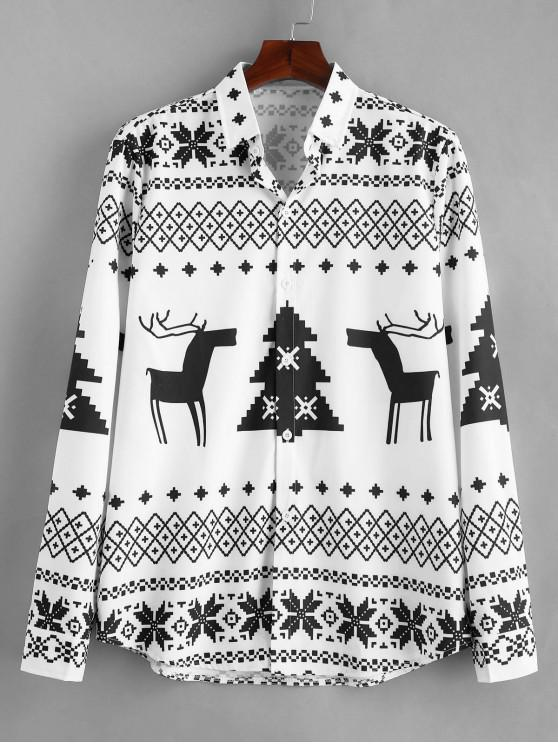 outfits Long Sleeve Christmas Geometry Pattern Shirt - BLACK L