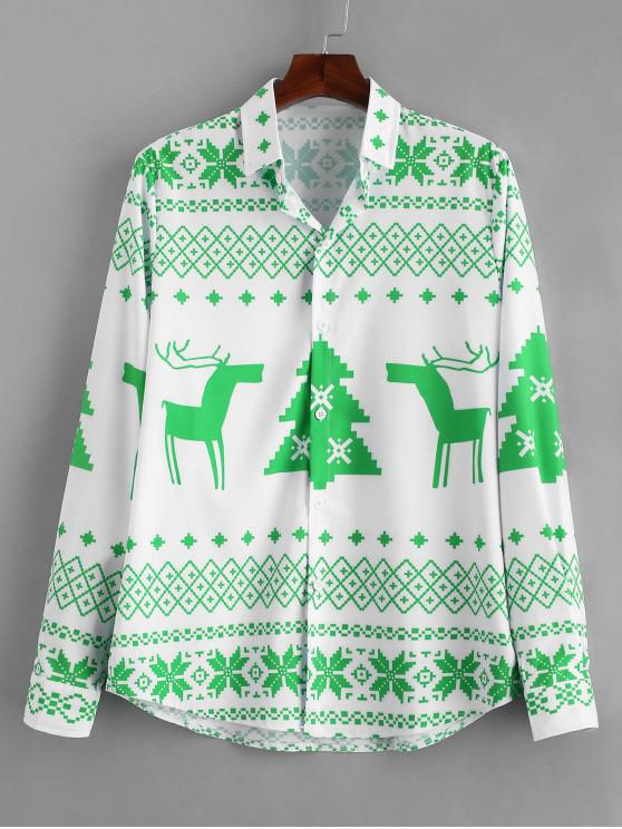 ladies Long Sleeve Christmas Geometry Pattern Shirt - YELLOW GREEN 3XL