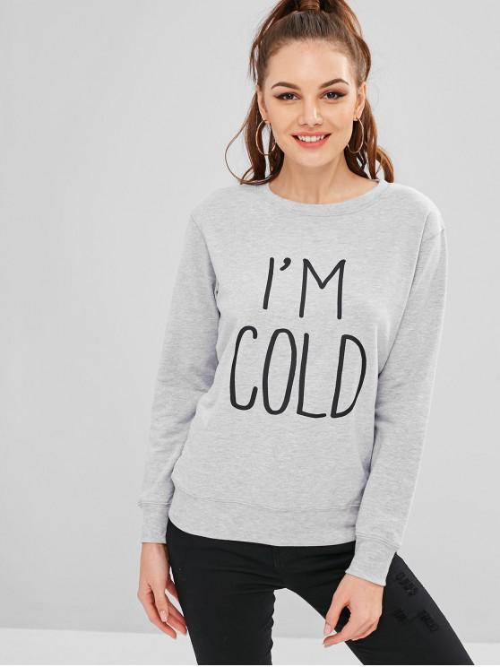 Sweat-shirt à imprimé graphique avec lettres contrastantes - Nuage Gris L