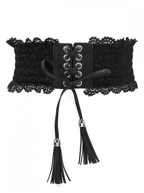 shops Solid Color Lace Elastic Dress Belt - BLACK