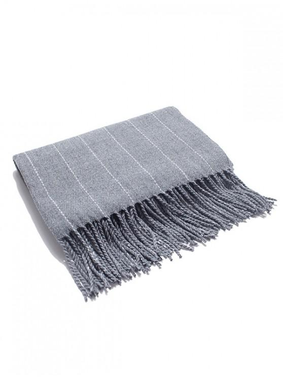 shop Retro Striped Fringed Long Scarf - GRAY CLOUD