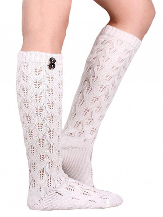 fancy Buttons Hollow Out Knitted Socks - WHITE