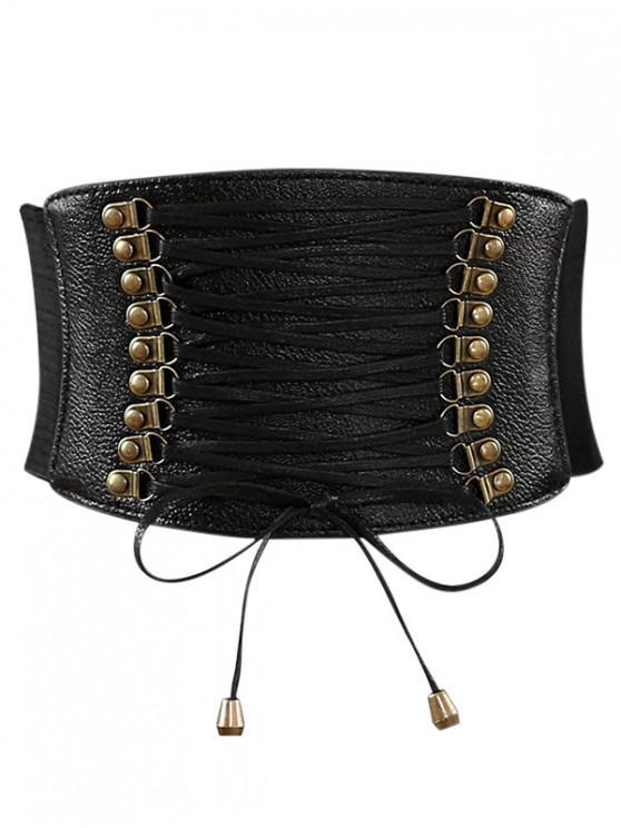 hot Rivets Faux Leather Elastic Wide Belt - BLACK